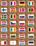 fackliga europeiska flaggor för länder Royaltyfria Bilder
