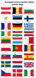 fackliga europeiska flaggor för länder Arkivbilder