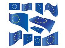 fackliga europeiska flaggor som ställs in Royaltyfria Bilder