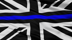 Fackliga Jack Thin Blue Line Flag, Closeupsikt vektor illustrationer