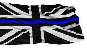 Fackliga Jack Thin Blue Line Flag som isoleras på vit stock illustrationer