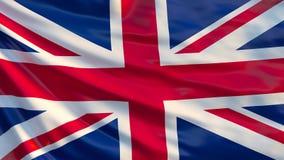 Fackliga Jack Waving Flag UK-flagga, illustration 3d stock illustrationer