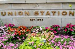 Fackligt stationsgränsmärketecken Fotografering för Bildbyråer