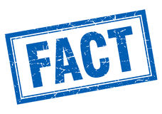 Fact blue square stamp on white Stock Photography