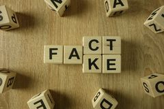 Fact or fake word from wooden blocks. On desk royalty free stock photography