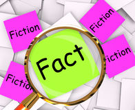 Fact Fiction Post-It Papers Mean Truth Or Myth. Fact Fiction Post-It Papers Meaning Truth Or Myth Stock Image