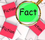 Fact Fiction Post-It Papers Show Factual Or Untrue Stock Photo