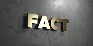 Fact - Gold sign mounted on glossy marble wall  - 3D rendered royalty free stock illustration Stock Images