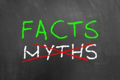 Fact i krzyżujący mitu tekst na blackboard lub chalkboard fotografia stock
