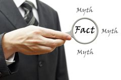 Fact mhyt concept. Fact mythconcept with businessman Royalty Free Stock Image