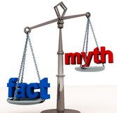 Fact outweigh myth. Facts outweigh myths or lies, importance of truth and justice overt lies deceits and myth concept Royalty Free Stock Image