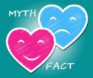 Fact Vs Myth Hearts Describes Truthful Reality Versus Deceit - 3d Illustration