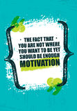 The Fact That You Are Not Where You Want To Be Yet Should Be Enough Motivation. Inspiring Creative Quote Poster. Vector Typography Banner Design Concept On Royalty Free Stock Photography