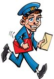Facteur de dessin animé fournissant le courrier Photos libres de droits