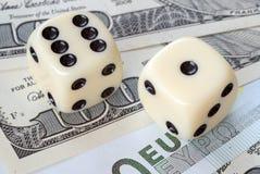 Facteur de risque sur des marchés d'euro et de dollar Photo libre de droits