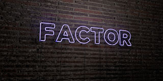 FACTOR -Realistic Neon Sign on Brick Wall background - 3D rendered royalty free stock image. Can be used for online banner ads and direct mailers Stock Images