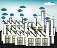 Factories. Plant area with closely spaced manufacturing facilities, eps10 vector Royalty Free Stock Images