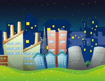 Factories near the neighborhood. Illustration of the factories near the neighborhood Royalty Free Stock Photography