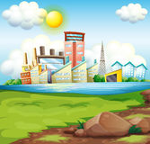 Factories near the river Stock Photos