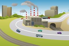 Factories Plants Cars Highway Illustration royalty free stock photos