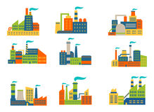 Factories and plants set Royalty Free Stock Photography