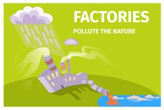 Factories Pollute Nature Ecology Themed Poster. With plant that dumps wastes in river and rain cloud above vector illustration Royalty Free Stock Photo