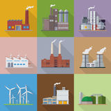 Factories and power plants flat design vector icons Stock Photography