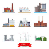 Factories and power plants vector icons Stock Photos