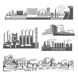 Factories silhouette patterns Royalty Free Stock Photo