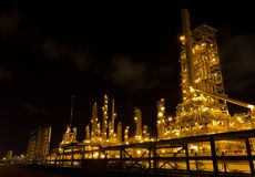 Factories are working at night. Royalty Free Stock Images