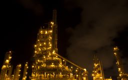 Factories are working at night. Royalty Free Stock Photos