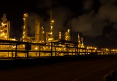 Factories are working at night. Stock Photo