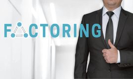 Factoring concept and businessman with thumbs up stock photography