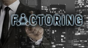 Factoring concept is shown by businessman stock photography