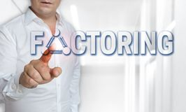Factoring touchscreen concept is operated by man stock images