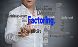 Factoring wordcloud touchscreen is operated by man.  royalty free stock photo