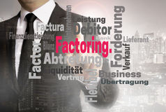 Factoring wordcloud touchscreen is shown by businessman royalty free stock image