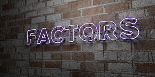 FACTORS - Glowing Neon Sign on stonework wall - 3D rendered royalty free stock illustration. Can be used for online banner ads and direct mailers vector illustration
