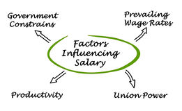 Factors Influencing Worker`s Compensation. Diagram of Factors Influencing Worker`s Compensation royalty free illustration