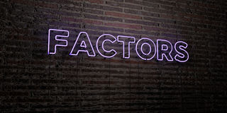FACTORS -Realistic Neon Sign on Brick Wall background - 3D rendered royalty free stock image. Can be used for online banner ads and direct mailers vector illustration