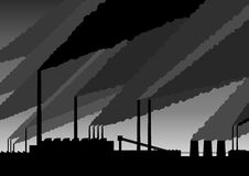 Factory. Black silhouette of smoke above the factory Royalty Free Stock Photos