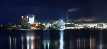 Factory. Industry photographed at night in panoramic format Royalty Free Stock Photos