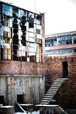 Factory. Ruins of a very heavily polluted industrial site, 1890's the place was known as one of the most polluted towns in Europe stock photo
