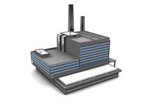 Factory. 3d illustration of factory building over white background