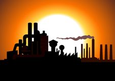 Factory. Silhouette illustration of a factory Royalty Free Stock Photo