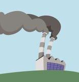 Factory. Cartoon illustration of a factory polluting smoke vector illustration