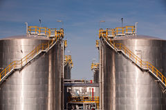 Factory. Large tanks in the chemical factory royalty free stock images