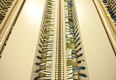 Factory. Cable in slot on panel Royalty Free Stock Photography