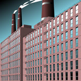 Factory. Tall chimneys on a factory with smoke billowing out Stock Photography