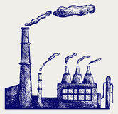 Factory. Doodle style. Scratch vector Royalty Free Stock Images
